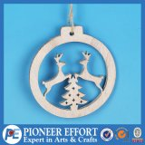 Wooden White Deer and Mini-Tree Design for Christmas Hanging Ornament