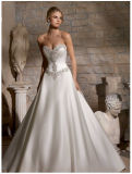 Diamante Beaded Embroidery Satin Bridal Wedding Dresses (2703)