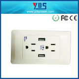 USA 250V 15A 2 Gang Wall Socket with USB 2.1A
