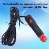 Red LED Switch 12V/24V Auto Power Plug Cable with 10A Current