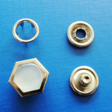 Hexagonal Prong Snap Button with Pearl Stone