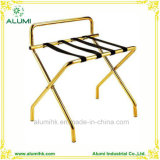 Gold Stainless Steel Foldable Luggage Rack with Back Bar