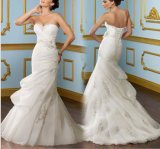 Strapless Beaded Organza Bridal Wedding Dresses (NWD1014)