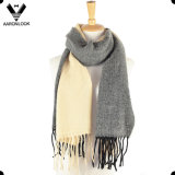 Fashion Two Tone Joint Checked Cashmere Scarf with Self Fringes