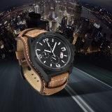 Unique Design Fashion Men Dive 100m Sport Military Leather Wristwatches Large Dial Quartz Watch