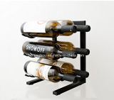 Modern 6 Bottle Table Top Metal Wine Rack in Satin Black