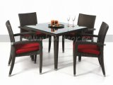 4 Seater Outdoor Rattan Dining Set with Square Table