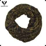Women Acrylic Cable Jacquard Two Tone Loop Scarf