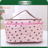 Pink Pattern Printed Handle Cosmetic Make up Wash Bag