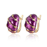 Europe Girl Purple Color Fashion Gold Earring with Electroplate