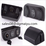 12V 24V Three Tent Power Cigarette Lighter Socket with Voltage Meter with Dul USB Car Charge for Car Modification