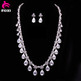 Elegant Bridal White Gold Zircon Necklace Jewelry Set