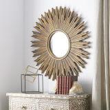 Sunburst Antique Gold Leaf PU Framed Mirror on Hot Sales