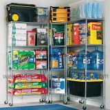 Movable Store Metal Wire Shelving/Shop Display Rack with Wheels (HD244872A5CW)