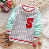 T1158 2015 Autumn Korean Style Cotton Soft Kids Boys Sport Pullover Long Sleeve Striped Shirts Children Shirt for Wholesale