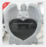 Pure Black Heart Monument for Gravestone Funeral