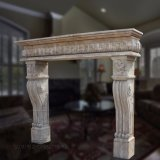 Limestone Fireplace with Antique Treatment T-3195