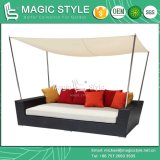 Day Bed Sunbed Deck Chair Chaise Lounge Wicker Double-Sofa 2-Seat Sofa Rattan Furniture (MAGIC STYLE)