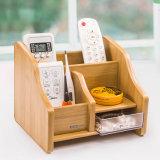 C2037 Household Wooden Multi-Functional Desk Pen Holder with Drawer