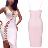 Fashion Women Sexy Side Hollow Bandage Bodycon Slip Blouse