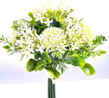 Colorful Artificial Gerbera Hydrangea Bouquet Flocking Leaves for Home/Wedding Decoration