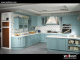 2015 Welbom Modern Blue Lacquer Wood Kitchen Cabinets with Island