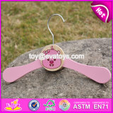 New Design Lovely Pink Wooden Hangers for Baby Clothes W09b071