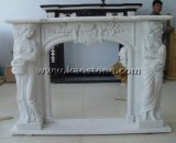 Natural White Marble Carving Decoration Mantel Surround Fireplace