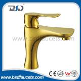 Deck Mounted Brass Golden Basin Tapware