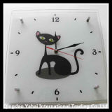Tempered and Decorative Glass Clock with Cat Pattern