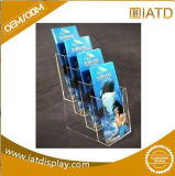 4 Tiers Clear Acrylic Brochure Display Stand