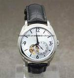Custom Sports Silver Tone Leather Band Automatic Wrist Watch Men
