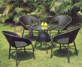 4 PCS Metal Simple PE Rattan Furniture with Round Table