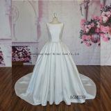 Puffy Ball Gown Satin Round Neck Simple Wedding Dress
