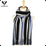 Men′s Fashion Colorful Stripe Warp Knitted Scarf