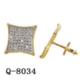 Fashion Jewelry 925 Silver Micro Pave Setting Earrings 14k Plated.