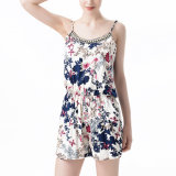 Fashion Women Leisure Slim Chiffon Printed Jumpsuit Tube Dress