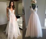 V Neck Sheath Beach Wedding Gown