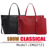 Handbag Women Fashion Brand Handbags Tote Leather Handbag with Wallet (EMG2721)