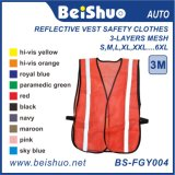 Orange Safety Reflective Security Working Vest with Mesh Elastic Sides