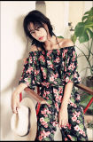 Summer Dress Women O-Neck Sexy Strap Sheer Floral Lace Embroidered Crochet Hippie Mini Beach Dress