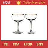 Round Cheers Champagne Coupe Glass Set with Gold Rim