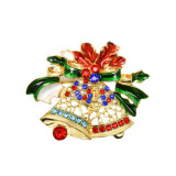 Enamel Crystal Rhinestone Large Christmas Bells Brooches Fashion Jewelry