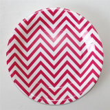 "9"" Party Paper Plate, Round Chevron Paper Plates for Party"