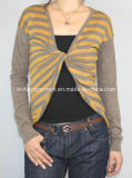 Women Knitted V Neck Clothing with Color Stripes (12AW-307)