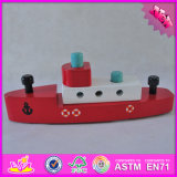 2016 Wholesale Baby Wooden Toy Boat, Funny Kids Wooden Toy Boat, High Quality Children Wooden Toy Boat W04f003
