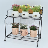 Multipurpose Foldable Iron 2-Tiers Wood and Metal Flower Pot Rack for Table