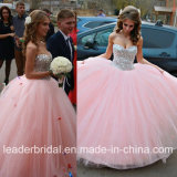 Strapless Pink Ball Gown Cyrstals Tulle Wedding Dress Yao54