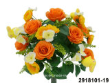 Artificial/Plastic/Silk Flower Rose/Rabbit Mixed Bush (2918101-19)