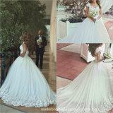 Arabic Dubai Bridal Gowns Dots Tulle Ball Gown Lace Wedding Dress B2058